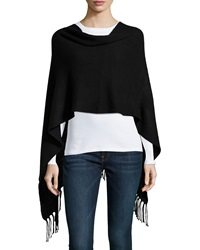 Neiman Marcus Cashmere Collection Cashmere Ribbed Poncho W Fringe Trim Black