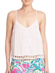 Lilly Pulitzer Medallion Embroidered Cropped Top Resort White