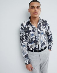 Selected Homme Slim Fit Shirt With All Over Print White