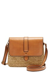 Fossil 'Small Kinley' Leather And Straw Crossbody Bag
