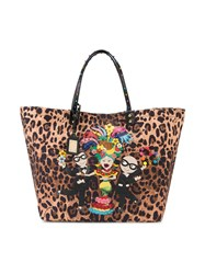 Dolce And Gabbana Beatrice Leopard Print Tote Brown