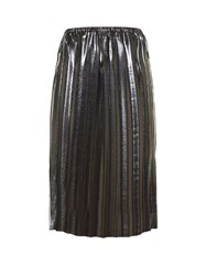 Etoile Isabel Marant Malden Pleated Lame Midi Skirt Silver