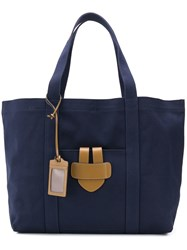 Tila March Leather Trim Tote Blue
