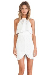 Shona Joy Romanticist High Neck Frill Cocktail Dress White