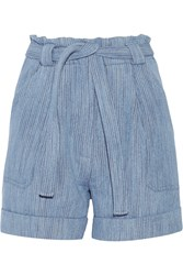 Paul And Joe Kelcalme Belted Cotton Blend Shorts Blue