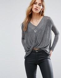 Only Twist Front Top With High Low Hem Medium Grey Melange