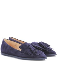 Tod's Suede Loafers Blue