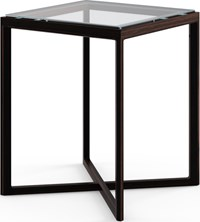 Knoll Krusin Side Table Ebonized Oak Small Clear Glass Brown Gray Transparent