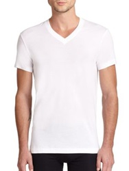 2Xist Pima Cotton V Neck Tee White