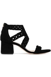 Sandro Woman Braided Suede Sandals Black