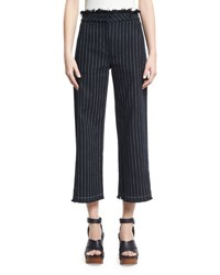 Alexander Wang Cropped Striped Cotton Burlap Pants Navy