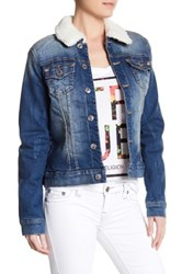 True Religion Western Dusty Faux Shearling Collar Denim Jacket Blue