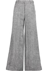 Zimmermann Master Herringbone Linen And Silk Blend Wide Leg Pants Gray