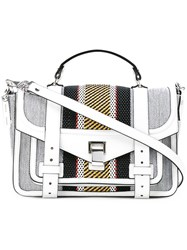 Proenza Schouler Striped Woven Satchel White