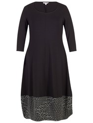 Chesca Diamond Jacquard Trim Dress Black