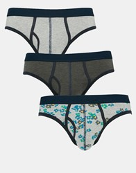 Asos 3 Pack Briefs With Floral Marl Save 20 Grey