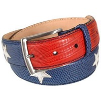 Manieri Stars And Stripes Patchwork Leather Belt Blue