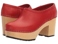 Swedish Hasbeens Bettan Red Women's Clog Shoes