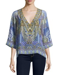 Camilla Embellished Crepe V Neck Top All A Dream Blue Pattern