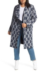 Halogen Plus Size Floral Plaid Coat Blue Plaid Floral