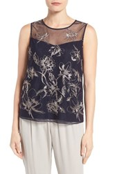 T Tahari Women's Harla Embroidered Shell