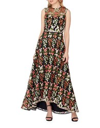 Tahari By Arthur S. Levine Floral Embroidered Mesh A Line Gown Black Ivory