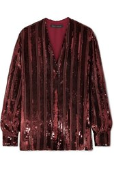 Sally Lapointe Striped Sequinned Chiffon Blouse Claret