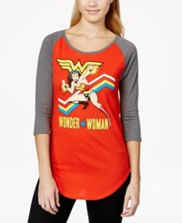 Bioworld Juniors' Wonder Woman Graphic Baseball Tunic T Shirt