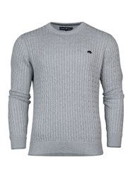 Raging Bull Crew Neck Cable Knit Sweater Grey Marl