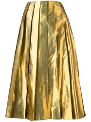 Arthur Arbesser Metallic Grey Pleated Skirt
