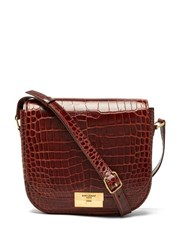 Saint Laurent Betty Crocodile Effect Leather Satchel Brown