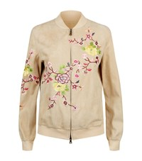Etro Embroidered Suede Bomber Jacket Female Beige