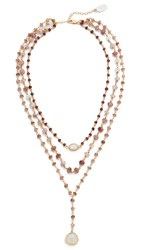 Ela Rae 3 In 1 Midi Necklace Garnet Quartz Brown Moonstone