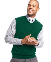 Club Room Cashmere Solid Sweater Vest Dark Forest