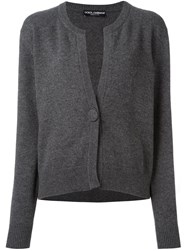 Dolce And Gabbana Single Button Cardigan Grey