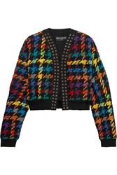 Balmain Houndstooth Cotton Blend Bomber Jacket Black