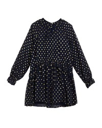Mayoral Georgette Metallic Polka Dot Dress Blue
