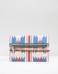 Glamorous Bright Foldover Woven Clutch Bag With Pom Poms Multi