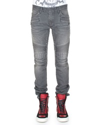 Balmain Stretch Moto Denim Jeans Light Gray