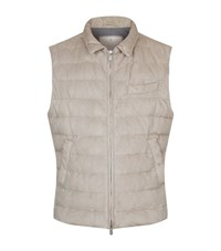 Brunello Cucinelli Quilted Suede Gilet Male Beige