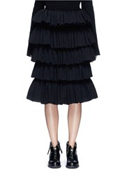 Ms Min Tiered Ruffle Plisse Skirt Black
