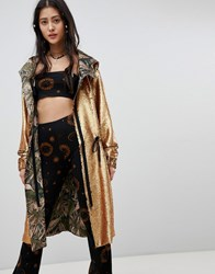Native Rose Oversized Parka Jacket In Premium Sequin Burnt Gold