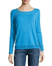 Lafayette 148 New York Mesh Detail Knit Sweater Waterfall