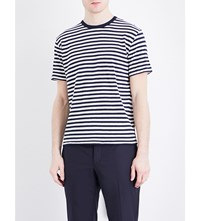 Officine Generale Striped Cotton And Linen Blend T Shirt Navy White