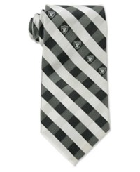 Eagles Wings Oakland Raiders Checked Tie Black White