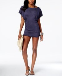 Lucky Brand Knit Shirred Tunic Cover Up Women's Swimsuit Indigo