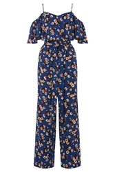 Warehouse Mae Floral Frill Jumpsuit Blue
