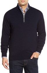 Men's Peter Millar Quarter Zip Cashmere Pullover Black
