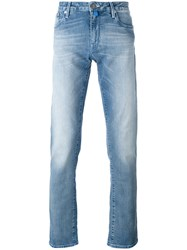 Jacob Cohen Washed Out Straight Leg Jeans Men Cotton Polyester Spandex Elastane 33 Blue