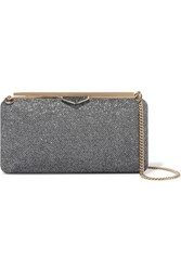 Jimmy Choo Ellipse Glittered Leather Clutch Charcoal